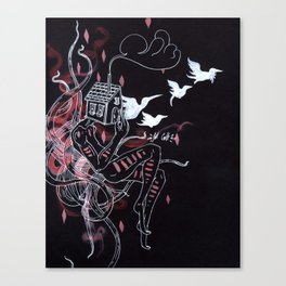 Red Tendrils and White Birds Canvas Print