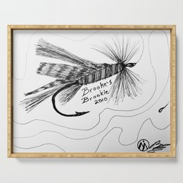 """""""Trout Fly #2"""" FlyvFishing Art, Hand-Drawn by Dark Mountain Arts Serving Tray"""