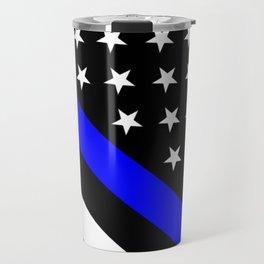 Police Flag: The Thin Blue Line Travel Mug
