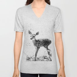 The Sweetest fawn Black & White Unisex V-Neck