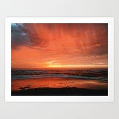 Ocean Waves #sunset Art Print