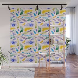 Jewel Tone Feathers Wall Mural
