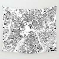 moscow Wall Tapestries featuring Moscow Map Schwarzplan Only Buildings by City Art Posters