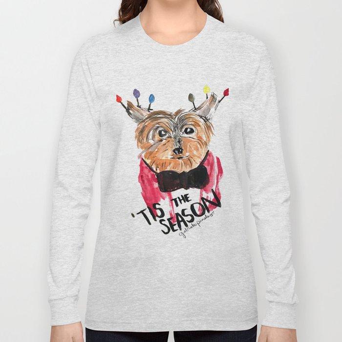 Holiday Dog, Tis the Season, Pinales Illustrated Long Sleeve T-shirt