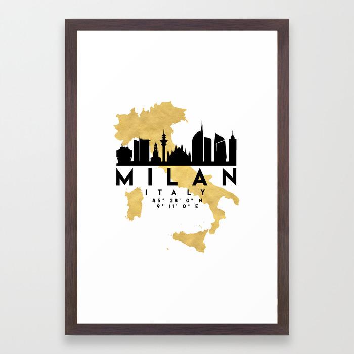 MILAN ITALY SILHOUETTE SKYLINE MAP ART Framed Art Print