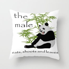 The Male Eats, Shoots and Leaves Throw Pillow