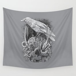 White Raven Wall Tapestry