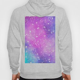 White constellation universe pattern zodiac on purple blue nebula space watercolor Hoody