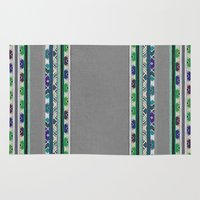 boho Area & Throw Rugs featuring boho stripes by spinL