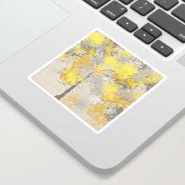 Abstract Yellow and Gray Trees Sticker