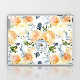 Blush gray orange watercolor hand painted floral Laptop & iPad Skin