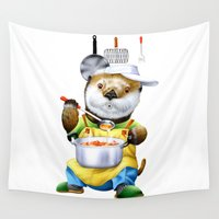 cooking Wall Tapestries featuring A sea otter cooking by FACTORIE