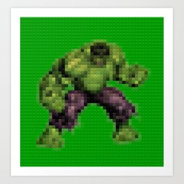 Green monster - Toy Building Bricks Art Print