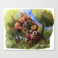 red hood Canvas Prints featuring Red Hood by Jose Luis Ocana