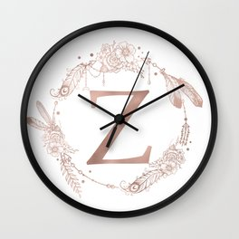 Letter Z Rose Gold Pink Initial Monogram Wall Clock