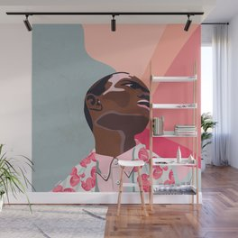 Model - spring pattern with flower motives pastel color background with marble effect Wall Mural