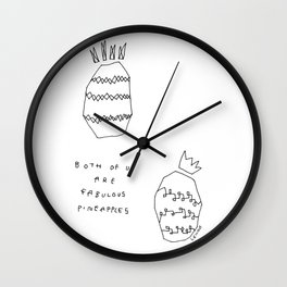 Words from Fabulous Pineapples - food fruit illustration self-love  Wall Clock