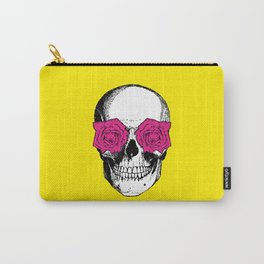 Skull and Roses | Skull and Flowers | Vintage Skull | Yellow and Pink | Carry-All Pouch