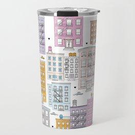 Manhattan brownstones New York travel pattern Travel Mug