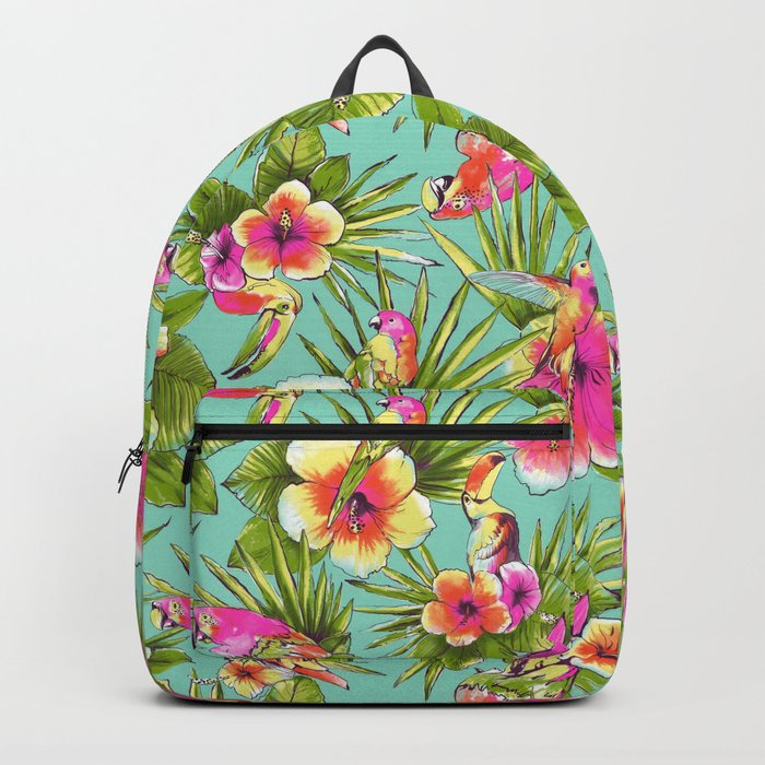 Tropical flowers with parrots Backpack