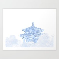 Zen temple in the cloud Art Print