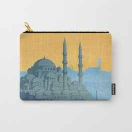 Mid Century Modern Travel Vintage Poster Istanbul Turkey Grand Mosque Carry-All Pouch