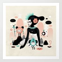 ruben ireland Art Prints featuring Kobana - Muxxi X Ruben Ireland by Ruben Ireland