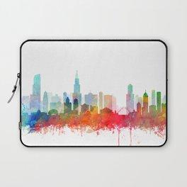 Chicago City Skyline Watercolor by zouzounioart Laptop Sleeve