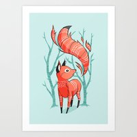 nursery Art Prints featuring Winter Fox by Freeminds