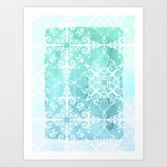 Mermaid's Lace - White Patterned Aqua / Mint Watercolor Wash Art Print