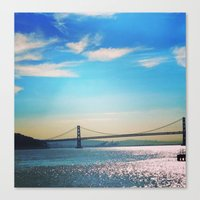 oakland Canvas Prints featuring Oakland Bridge by Laura Lee