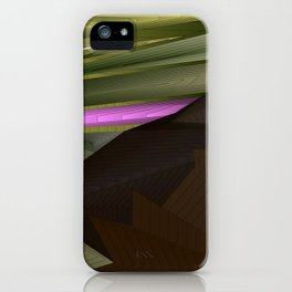 Strange psychedelic landscap with stylised mountains, sea and red Sun. iPhone Case