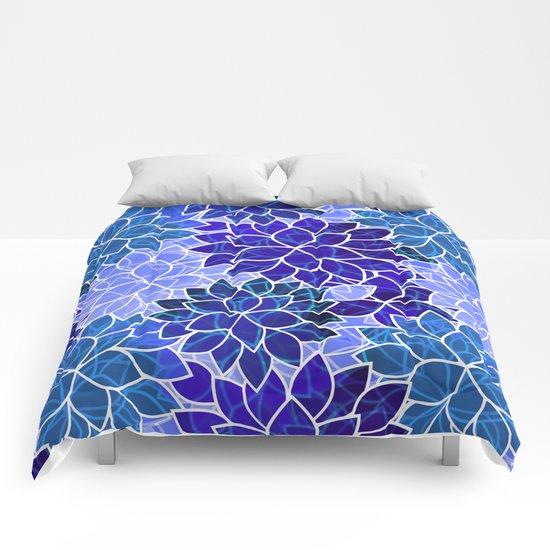 Azurite Blue Flowers Comforters