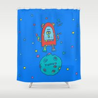 spaceman Shower Curtains featuring spaceman by PINT GRAPHICS