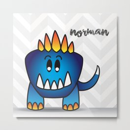The Friendly Monster Project: Norman Metal Print