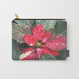 Raindrops on a poinsettia Christmas flower Carry-All Pouch