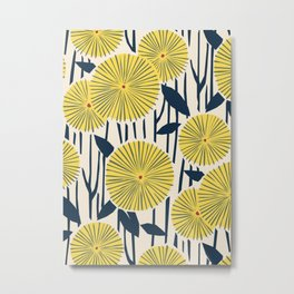 vintage, retro yellow, red and navy flower pattern Metal Print