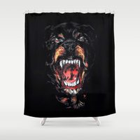 givenchy Shower Curtains featuring Givenchy Dog by I Love Decor