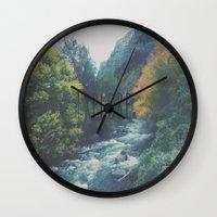 explore Wall Clocks featuring Explore by Hannah Kemp