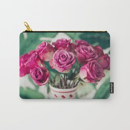 Purple Roses Against Banana Palms Carry-All Pouch