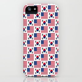 Mix of flag: USA and South Korea iPhone Case