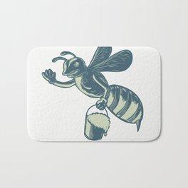 Honey Bee Waving With Pail of Honey Scratchboard Bath Mat