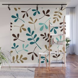 Assorted Leaf Silhouettes Teals Brown Gold Cream Wall Mural