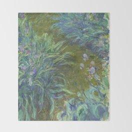 Irises by Claude Monet Throw Blanket