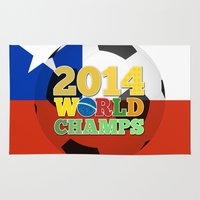 chile Area & Throw Rugs featuring 2014 World Champs Ball - Chile by crouchingpixel