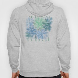 Big Flowers With Blue and Green Hoody