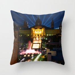 Barcelona at Night Throw Pillow