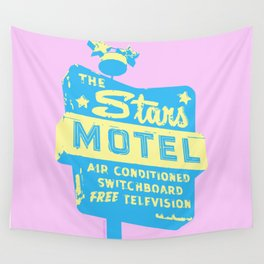 Seeing Stars ... Motel ... (Pink Background) Wall Tapestry