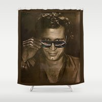 austin Shower Curtains featuring austin by domm