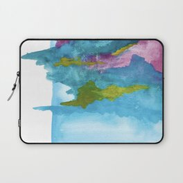 Salt Water Dreams: a vibrant abstract watercolor piece in blue, pink and yellow Laptop Sleeve